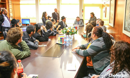 Trip-goers got the chance to see Israel's Parliament and meet with the Speaker of the Knesset, Russian Yuli Edelstein, seated at the end of the table.