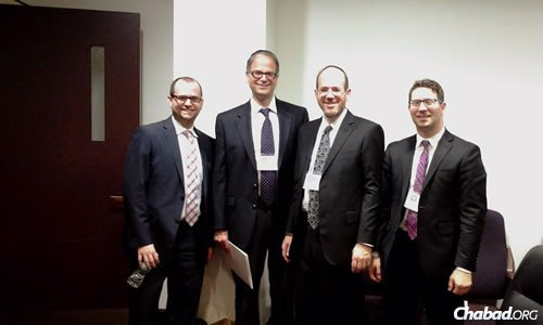 Leaders who met with Florida state legislators to push for an expansion of the state's tax scholarship program included, from left, Maury Litwack, director of State Political Affairs and Outreach for the Orthodox Union Advocacy Center; Dr. Allan Jacob, founder and chairman of the Jewish Leadership Coalition; Ari Hollander, executive board member of the Jewish Leadership Coalition; and Elliot Schreiber, director of the Jewish Leadership Coalition.