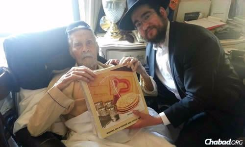 Before Passover, Rabbi Pinny Marozov of Chabad of Coney Island in Brooklyn, N.Y., brought shmurah matzah to 111-year-old Alexander Imich, now officially the oldest man in the world.