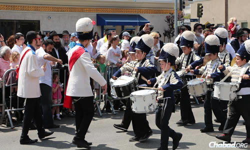 Bands are a big part of Lag BaOmer parades worldwide, as at last year's parade in Los Angeles.