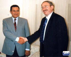 Yisroel Katzover with Egyptian president Hosni Mubarak