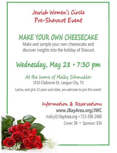 Jewish Women's Circle - Make your own cheesecake - Wed, May 28, 2014
