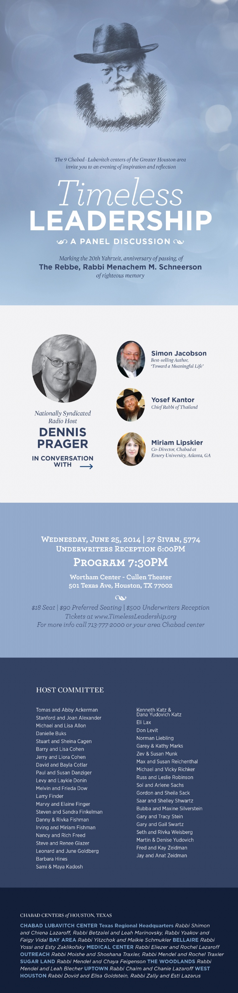 3 Tamuz Gimmel Tammuz - 6-25-14 | Eve of inspiration and reflection with Radio Host Dennis Prager, Simon Jacobson, Yosef Kantor, Miriam Lipskier