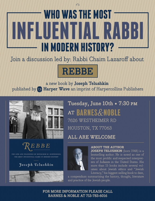 Rebbe - The Most Influential Rabbi of Modern History by Joseph Telushkin | Publishing date Barnes & Nobles event