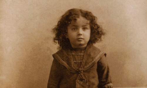 The Rebbe photographed as a young child, Nissan 1904. Courtesy of JEM.