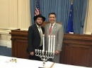 Lighting Menorah with the Governor