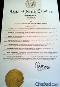 "The North Carolina proclamation of a ""Day of Good Deeds,"" signed by Gov. Pat McCrory"