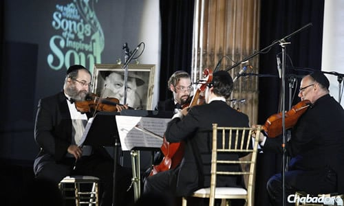 Sponsored and produced by Lubavitch of Philadelphia, the presentation included arrangements of six melodies prepared by Israel Edelson, performed by a string quartet led by violinist Yonoson Rothman. (Photo: Levi Sherman)