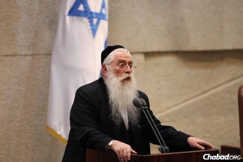 MK Menachem Porush (Photo: Itzik Harari, Knesset)