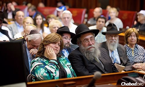 Rabbi Yisrael Deren, regional director, Chabad Lubavitch of Western and Southern New England, and his wife, Vivi, at the proceedings.