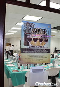 The Passover seder table was set up for more than 70 guests.