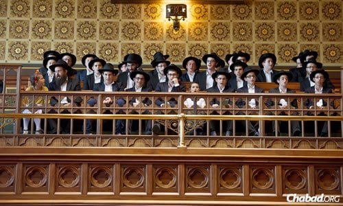 Yeshivah students sing Chassidic melodies at a tribute event marking the 20th yahrtzeit of the Lubavitcher Rebbe—Rabbi Menachem M. Schneerson, of righteous memory—at the State Capitol in Hartford, Conn.