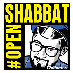 #openShabbat logo for Comic-Con; Jewish participants are welcome to a July 25 Friday-night meal during the San Diego conference.