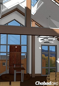The interior synagogue space reflects the natural landscape and offers lots of light.