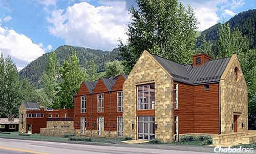 Artist's rendering of the exterior of new Chabad Jewish Community Center Aspen Valley