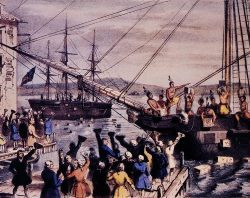 """An 1846 lithograph by Nathaniel Currier entitled """"The Destruction of Tea at Boston Harbor."""""""