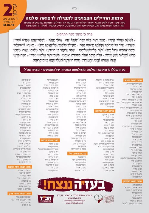 A list of hospitalized IDF troops as of July 31, 2014.