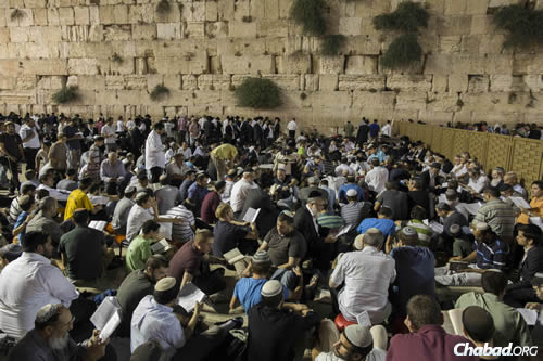 Jews gather last year for Tisha B'Av at the Kotel (Western Wall) in the Old City of Jerusalem. (Photo: Yonatan Sindel/Flash90.)