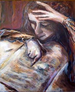 """""""תפילת אישה"""". ציורה של מרים קרפ"""