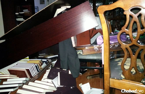 The Chabad center and home of Rabbi Rabbi Elchonon and Chanie Tenenbaum in Napa Valley, Calif., was in shambles after a violent earthquake on Sunday.