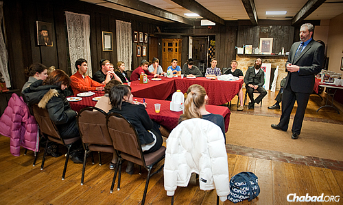 Cohen, seated at right, began offering JLI Teens when the program first came out and sometimes invites guest speakers to class.