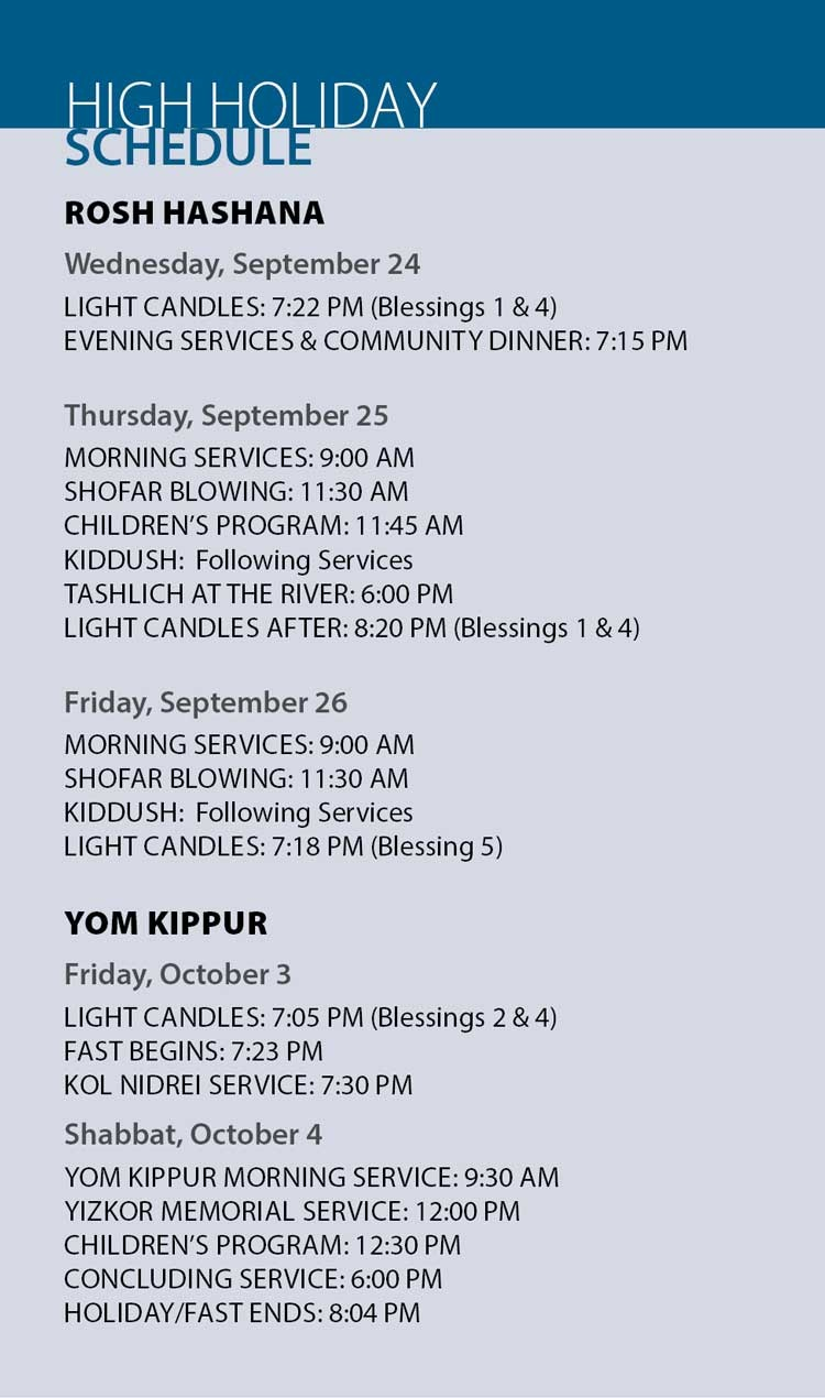High Holidays Schedule 2017 Prayers Meals Candle
