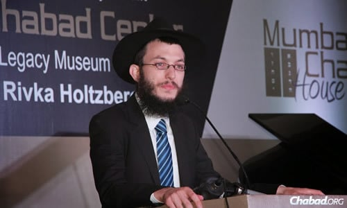 Rabbi Yisroel Kozlovsky at the reopening of Chabad of Mumbai's headquarters, also known as Nariman House.