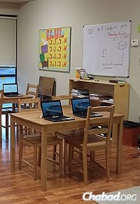 CMCH classrooms—complete with computers and a bulletin board on the month of Elul—are ready for incoming students.