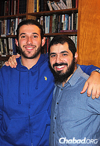 The rabbi taught Adam Kellerman, left, prior to his bar mitzvah at Chabad in Sydney, Australia. Kellerman is now one of the world's top wheelchair tennis players, having had a hip removed after cancer in childhood.