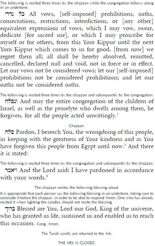 text of kol nidrei prayer