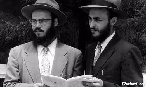 Rabbi Leibel Raskin, left, and Rabbi Yehuda Krinsky in Jamaica in the summer of 1957, where they were sent by the Rebbe.