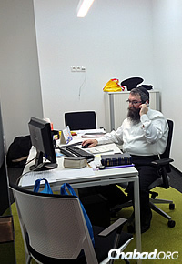 Rabbi Pinchas Vishedski, co-director of Chabad-Lubavitch of Donetsk, has been working in a temporary office in central Kiev. (Photo: Dovid Margolin)