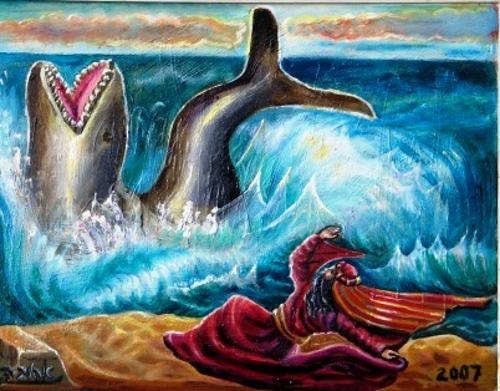 """יונה הנביא והדג. ציורי התנ""""ך / אהובה קליין (c)"""