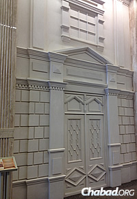 One of 12 facades of former synagogues in the city featured in a hallway in the Menorah Center.