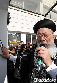 Rabbi Shlomo Amar, former Sephardic Chief Rabbi of Israel, at the opening ceremony (Benams Photo)