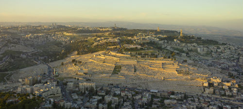 An breathtaking aerial view of the Mount of Olives in the Old City of Jerusalem