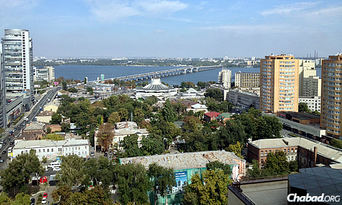 A view of the Dnieper River, which cuts through Dnepropetrovsk, Ukraine, and from which the city gets its name.
