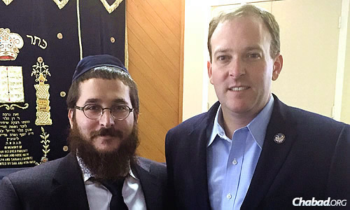 Rabbi Motti Grossbaum of Chabad at Stony Brook in New York with Zeldin