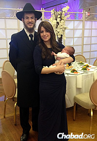 Rabbi Mendy and Mushkie Kesselman, and their son Nosson, now in Frisco, Texas