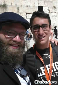 Rabbi Zalman Greenberg, co-director of Chabad at Lehigh University in Bethlehem, Pa., with student Geoff Newman in Israel.