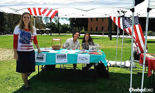 "A ""9/11 Mitzvah Marathon"" held at California State University in Northridge, Calif., with support from co-directors of Chabad @ CSUN Rabbi Chaim Shaul and Raizel Brook."