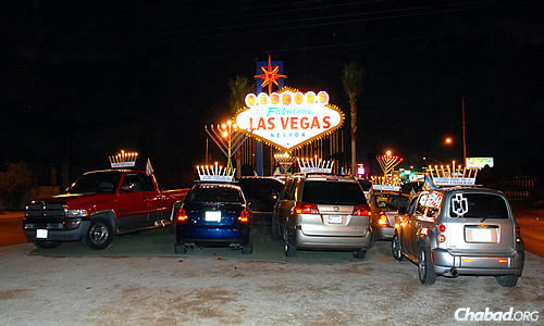 Las Vegas awash in even more light from these menorahs.