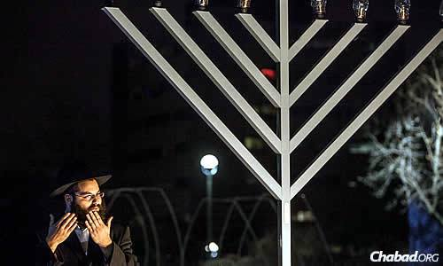 Rabbi Yehoshua Soudakoff worked to organize and oversee the first public Chanukah menorah-lighting ceremony last year at Gallaudet University in Washington, D.C., attended by about 100 students, faculty and community members.