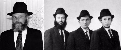 בוגרי הישיבה, מימין לשמאל: ר' נפתלי אסטולין, ר' מאיר אוקונוב, ר' שמואל חיים פרנקל, ור' ישעיה גרצמן