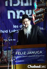 Rabbi Tzvi Grunblatt at this year's menorah-lighting, marking 30 years of public menorahs in Buenos Aires, which he initiated back in 1984.