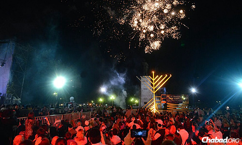 This year's lighting celebrated 30 years of public menorahs in Buenos Aires.