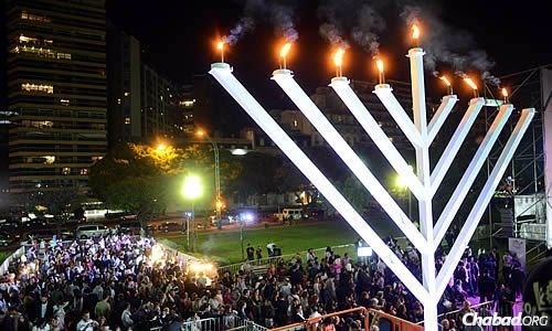 This year marks the 30th anniversary of a giant menorah in the Buenos Aires public square.
