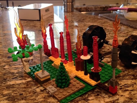 A menorah made out of lego