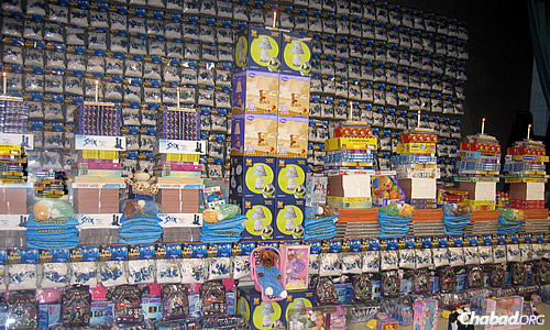 A 2009 menorah made of thousands of toys, which were distributed to hospitals and other organizations after Chanukah.