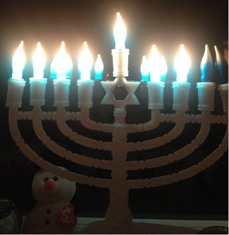 Robyn's menorah on night number six